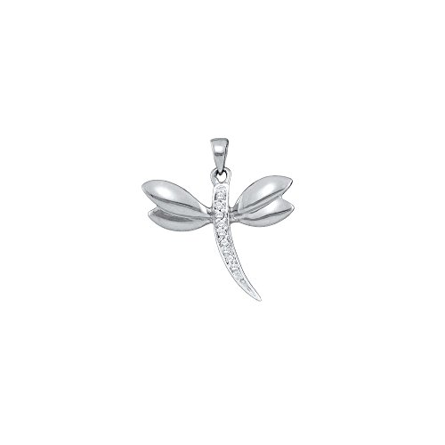 Diamond Accented Dragonfly Pendant (10k White Gold Diamond-accented Dragonfly Angel Wings Insect Necklace Pendant .03 Ctw.)
