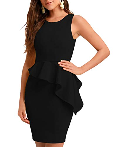 BORIFLORS Women's Sexy Sleeveless Ruffled Bodycon Cocktail Party Mini Club Dress,Large,Black