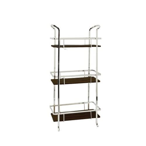 cheap Freestanding Linen Tower Bathroom Shelf 24.41'' H x 12.01'' W x 8.27'' D in.-Chrome, Number of Shelving: 3