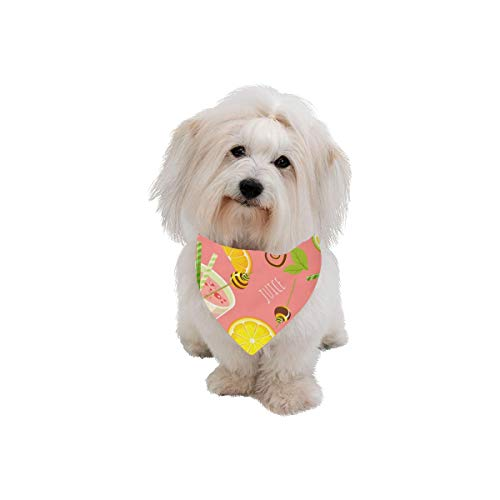 - XINGCHENSS Pet Dog Cat Bandana Orange Juice Sweet and Sour Printing Bibs Triangle Head Scarfs Kerchief Accessories for Large Dog Pet Birthday Party Easter Gifts
