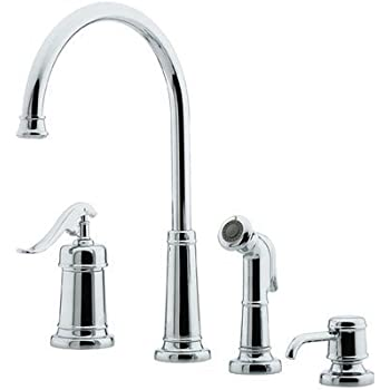 four hole kitchen faucet ashfield four hole kitchen faucet with side spray and soap dispenser finish polished chrome 1851
