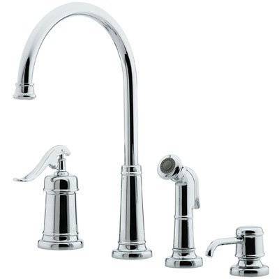 Ashfield Four Hole Kitchen Faucet with Side Spray and Soap Dispenser Finish: Polished Chrome - Price Pfister Chrome Soap Dispenser