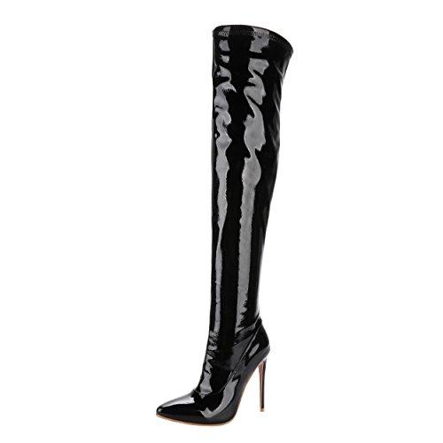 YE Damen Overkneestiefel Lack Spitze High Heels Stiletto mit Reißverschluss 12cm Absatz Elegant Schuhe Schwarz