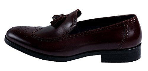Santimon Mens Tassel pendant Leather Semi Brogue Causal Shoes Penny-loafer Shoes AN1511 Coffee XHuU1qSM82