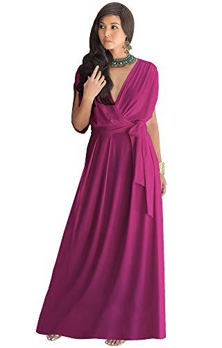 KOH KOH Petite Womens Long Semi-Formal Short Sleeve V-Neck Full Floor Length V-Neck Flowy Cocktail Wedding Guest Party Bridesmaid Maxi Dress Dresses Gown Gowns, Fuchsia Magenta Pink XL 14-16