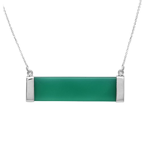 Green Onyx Rectangle Pendant Necklace with Chain for Female 925 silver Jewelry