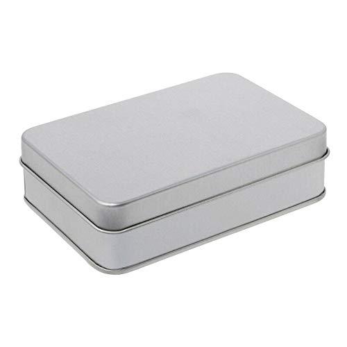 MOPOLIS Small Metal Tin Silver Storage Box Case Organizer for Money Coin Candy Key (Size - 1077230mm)