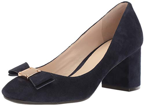 Cole Haan Women's TALI Bow Pump, Marine Blue Suede, 7 B US (Bow Pumps Suede)