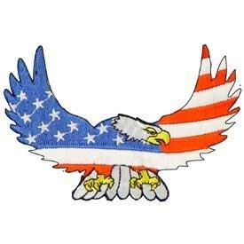 USA National Bird Embroidery Iron on Patch - Bald Eagle Wings & USA Flag Applique (Flag Embroidery Eagle)
