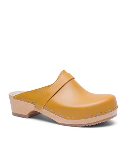 Swedish Low Heel Wooden Clog Mules for Women | Tokyo in Mustard by Sandgrens, size US 6 EU - Swedish In Yellow