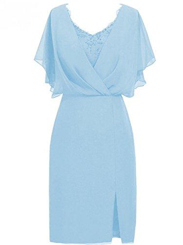 Cdress Courte Robes Formelles De Mariage De Robe De Soirée De Bal En Mousseline De Soie Robes De Demoiselle D'honneur Sky_blue