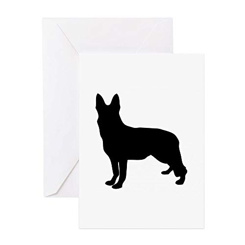 CafePress German Shepherd Silhouette Greeting Cards Greeting Card, Note Card, Birthday Card, Blank Inside Glossy ()