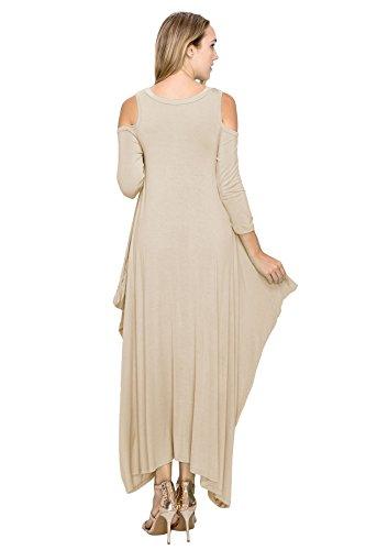Maxi Boho J 5X Doe Size Shoulder Khaki 3 Harem Open Dress 4 S Style Sleeve Women's qt4awr4I