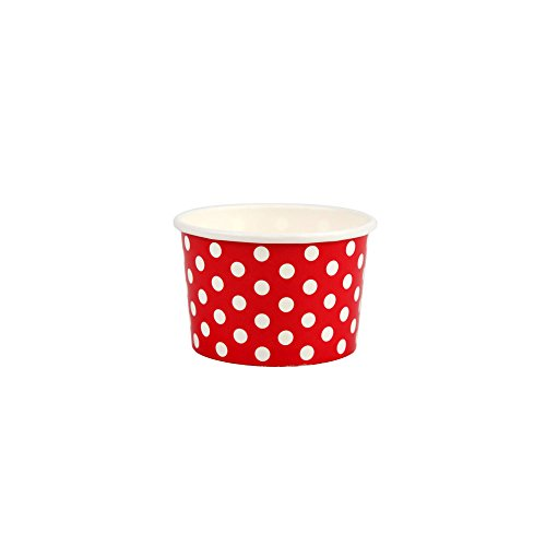 Yocup 4 oz. Polka Dot Red Paper Ice Cream / Frozen Dessert Cup - 50 ct]()