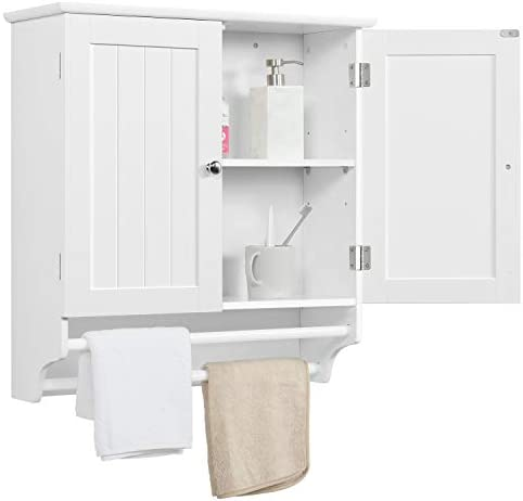 go2buy White Wall Mounted Cabinet Kitchen Bathroom Wooden Medicine Hanging Storage Organizer