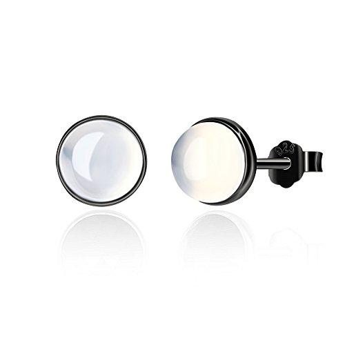 - S925 Sterling Silver Earrings AAA+ Freshwater Cultured White Pearl Earrings Studs for Women Girl (Opal Earrings)