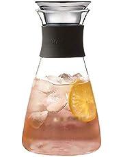 GSAGJsf Hogar Jarro de Cristal, Jugo de Soda Bebida fría hervidor de Agua con Cubierta de Acero Inoxidable, Resistencia a Altas temperaturas y la Resistencia al frío