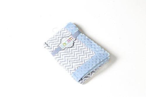 Bacati Ikat Zigzag Chevron with Border Plush Blanket, Grey/Blue, 30