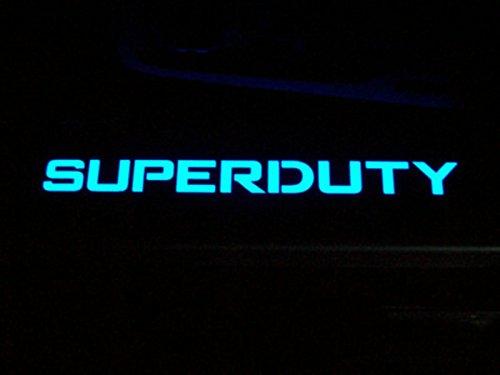 Ford 99-15 SUPERDUTY Billet Aluminum Door Sill / Kick Plate (2pc Kit Fits Driver & Front Passenger Side Doors Only) in Black Finish - SUPERDUTY in BLUE ILLUMINATION