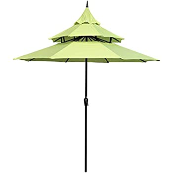 36db284f3e2e Amazon.com : PHI VILLA 10ft 3 Tier Auto-tilt Patio Umbrella Outdoor ...