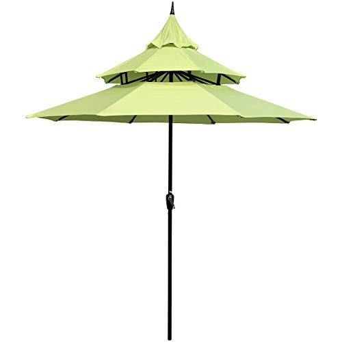 - ABBLE Outdoor Patio Umbrella 9 Ft Pagoda with Crank, Weather Resistant, UV Protective Umbrella, Durable, 8 Sturdy Steel Ribs, Market Outdoor Table Umbrella, Lime Green