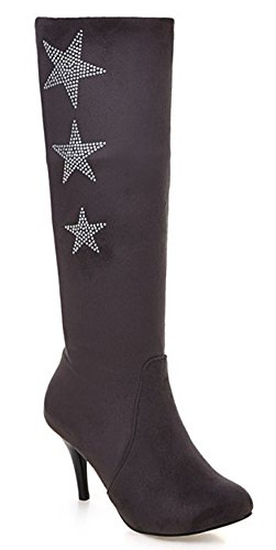 IDIFU Womens Sexy Stars Pointed Toe Stiletto High Heels Under Knee High Boots Long Booties Gray oKxHAR
