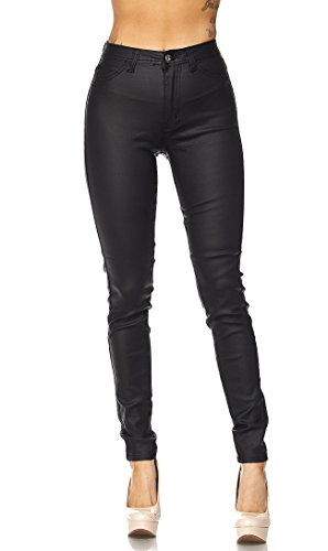 SOHO GLAM Super High Waisted Stretchy Skinny Jeans in 10 Colors (S-XXXL) (Black Leather Soho)