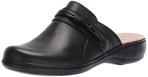 CLARKS Women's Leisa Clover Clog, Black Leather, 85 M US
