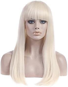 Ryu @ largo platino Etero rubia lady gaga Poker Face peluca Super Star stesse pelucas: Amazon.es: Belleza