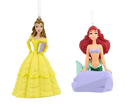Disney Set of 2 Hallmark Princess Christmas Tree Ornaments - Belle and Ariel The Little Mermaid