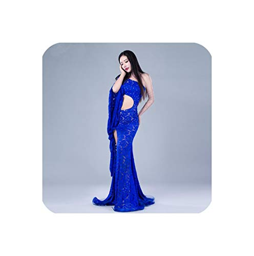 Sexy One Piece Lace Dress Oriental Dance Costume Shoulder Out Long Skirt with Veil Dancer,Blue,L -