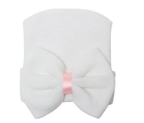 Hôpital Pour né Mignon Lovely Fille Cute Doux Blanc Rose 5five Nouveau Bébé Bonnet Chapeau Nœud RqCPdRw