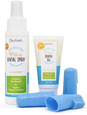 Oxyfresh Premium Pet Dental Kit from Best Bad Breath Treatment for Dogs & Cats - Easy Safe & Effective Solution - Travel Size - Unflavored Pet Toothpaste, Pet Fingerbrush, and Pet Dental Spray