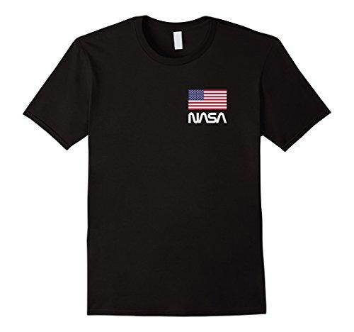 Nasa Retro Logo T Shirt With American Flag