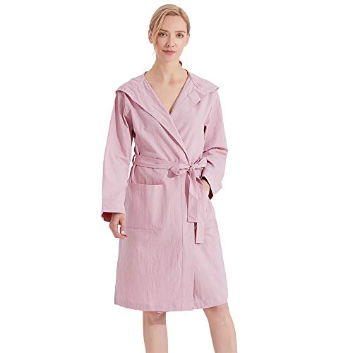 HOLOVE Womens Cotton Summer Robe Lightweight House Coat for Her Sweet Lilac L/XL