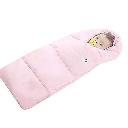 (Down Sleeping Bag,Baby Sleeping Bag for Unisex Baby,Polar Fleece Inside Sleeping Bag,Warm Sleeping Bag,Thermostat Sleeping Bag Double Zipper Fit for 0-1 Year Baby Pink )