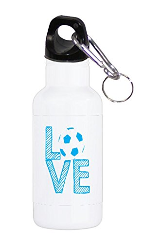 Love Soccer Stacked White with Blue Letters 20 ounce Stainless Water Bottle by Moonlight Printing