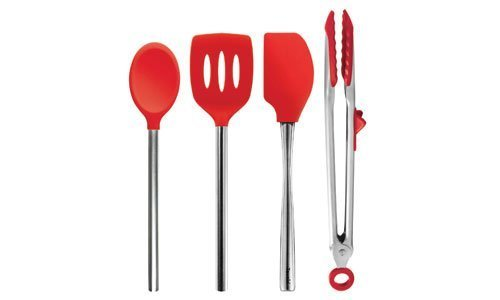 Tovolo Red Silicone Nonstick and Heat-resistant Kitchen Tool 4 Piece Set: Spatula, Spoon, Turner, Tongs by Tovolo (Tovolo Silicone Spoon)