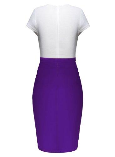 ARTEMISES Womens Lace Floral Pencil Scoop Tunic Party Dress (XL, Purple)