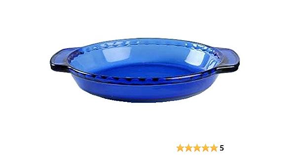 Pyrex Blue Tint Deep Dish Pie Plate Glass Fluted Edge Handles 9.5\u201d Aqua Blue Tint #229 Crimped Edge Large Handles Pie Baking Set #229