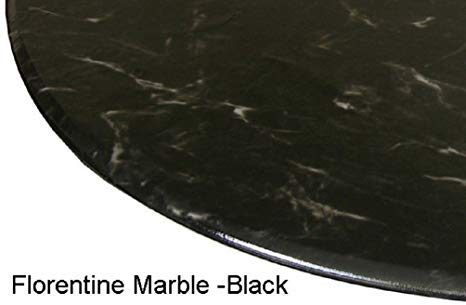 "Table Cloth Round 36"" to 48"" Elastic Edge Fitted Vinyl Table Cover Florentine Marble Pattern Black"