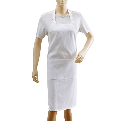 - Kitchen Apron, 100% Cotton Apron For Women & Men, Eco Friendly, Textured, Solid White, Premium Quality Made With Fine Yarn, Size 26 X 35