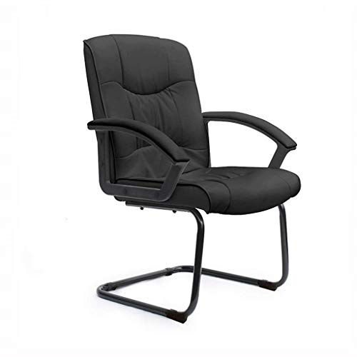 RMXAK Office Elements Classic Replica Chair - Vegan Leather, Thick high Density Foam, Chrome arms Classic Visitors Chair in PU Leather. Suitable for Office and Home (Color : Black)