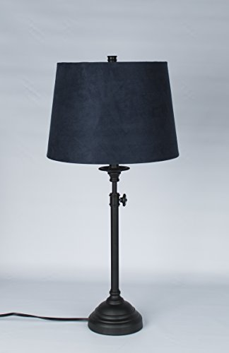 Urbanest Windsor Adjustable Accent Lamp, Matte Black Finish Lamp Base with Navy Blue Suede Lampshade (Cheap Pottery Barn)