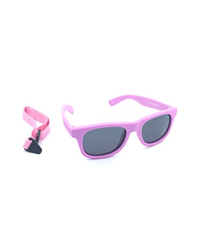 Kids / Baby Wayfarers Polarized Sunglasses With Strap 100% UVA & UVB (Light purple) - Baby Sunglasses Strap