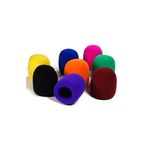Large Pop Filter - Bluecell Pack of 8 PCS Black/Purple/Hot Pink/Brown/Blue/Orange/Yellow/Green Handheld Stage Microphone Windscreen Foam Cover