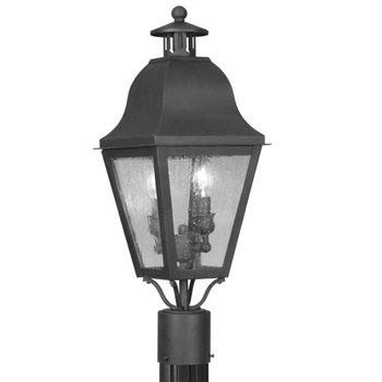Livex Lighting 2552-04 Amwell - Two Light Outdoor Post Light, Black Finish with Seeded Glass