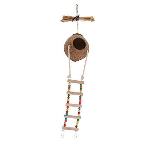 MagiDeal Handmake Natural Pet Parrot Toy Natural Coconut Shell Bird Nest House - #2 by Unknown (Image #7)