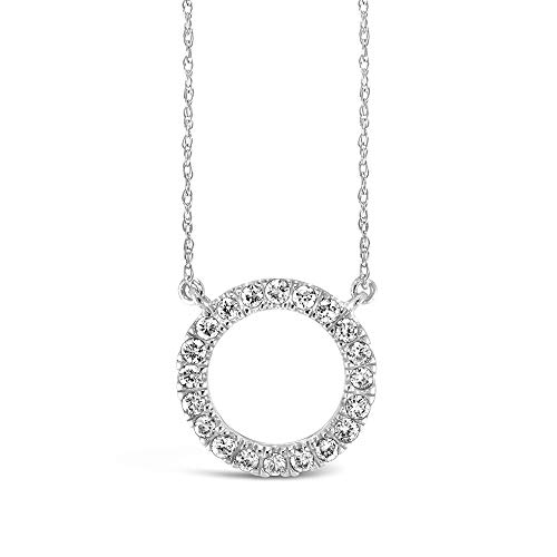 (Brilliant Expressions 10K White Gold 1/5 Cttw Conflict Free Diamond Circle Adjustable Pendant Necklace (I-J Color, I2-I3 Clarity), 16-18 inch)