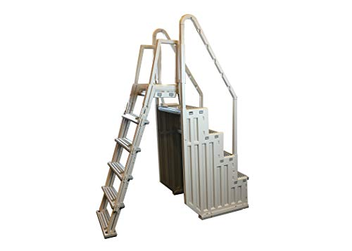 Confer Plastics Above Ground Swimming InPool Step & Ladder | Heavy Duty | White Frame with Gray Steps | Deck Height Up to 60 Inches | Enter & Exit Your Pool Safely (Building A Swimming Pool Step By Step)